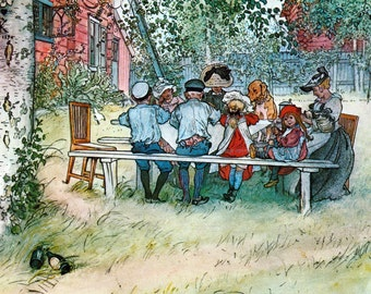 Party Invitation - Picnic Outside Dog and Chicken Included - Carl Larsson Repro