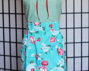 Apron Dress - blue garden dress with collar - style ZONO - FULLY LINED