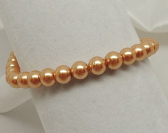 Gold Faux Pearl Stretch Bracelet