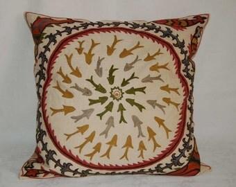 Beautiful  handmade Bukhara fish-flowers pattern Suzani Pillow Cover cushion  original silk embroidery 19.5 x 19.5 inch