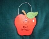 Personalized Wood Christmas Ornament - Teacher's Apple