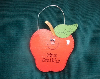Personalized Wood Christmas Ornament - Teacher's Apple