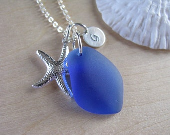 Cobalt Blue Sea Glass Bridesmaid Necklaces Royal Blue Beach Glass Jewelry for Beach Wedding Jewelry with Starfish Anchor or Personalized