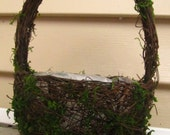 Grapevine and moss Flower Girl Basket or planter