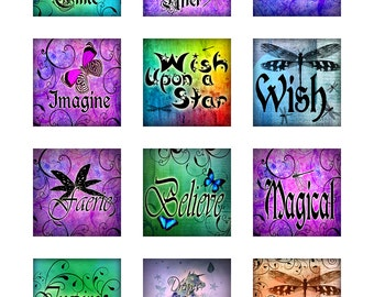 Dragonflies Butterflies Fairytale Instant Download for Glass Resin Scrabble Tile Pendants Digital Collage Sheet Square Jpeg Images (14-1)
