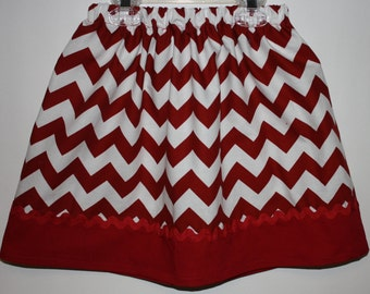Red and White  Little Girls Skirt Size 2 - 7