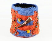 Fiber Art Cup - hand felted and hand formed wool art - Orange and blue wool with ribbon yarn, Tunisian Style Crochet