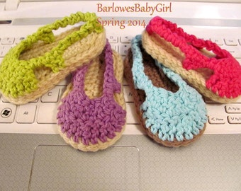 NEW - Buggs - Crochet Sling Back Baby Espadrille Shoes in Cotton - Pick Your Color