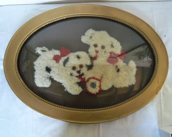 22 by 16 Antique Oval Bubble Glass or Convex Glass Frame Poodle Puppy Needlepoint