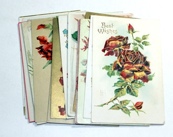 15 Early 1900s Greeting Postcard Assortment - Shades of Red - Antique Used Postcards