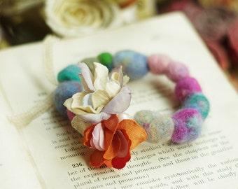 Color  baize stretch bracelet---Flower dream A