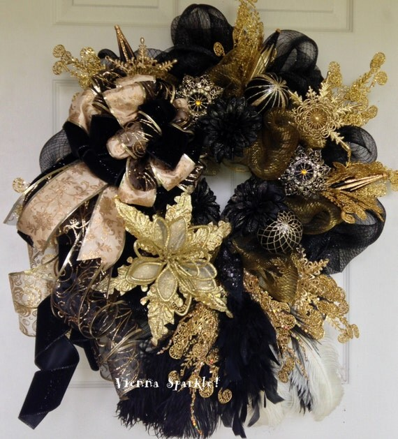 Peacock Wreath Black And Gold Christmas Wreath