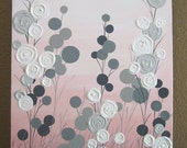 """Pink and Grey Textured Flower Nursery Art, Original Painting on Canvas, 16x20"""" READY TO SHIP"""