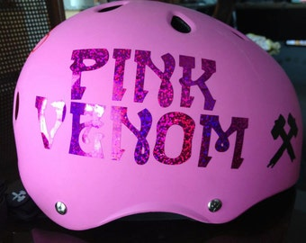 Custom Vinyl Roller Derby Sports Helmet Decals By TLKellyGraphics - Pink motorcycle helmet decalscustom vinyl decals part
