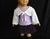 18 inch Doll Clothes Fits American Girl - Purple Skirt, T-shirt and Shrug