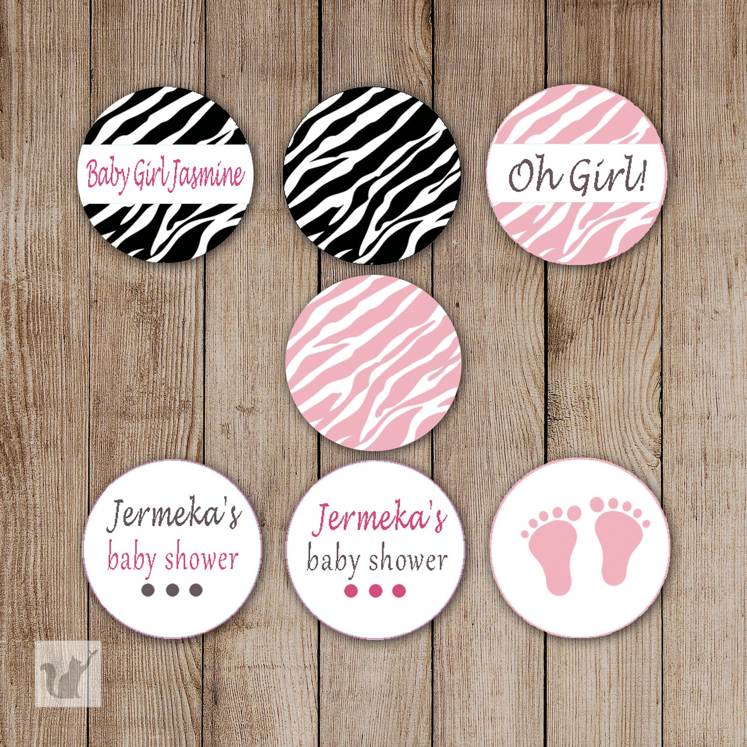 Baby Shower Stickers For Favors: Printable Small Candy Labels 0.75 Inch Candy Stickers Girl