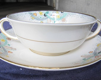 SALE 3 Soup Bowls 6 saucers for 1925 World's Fair China for Johnson Brothers Les Fountaines.