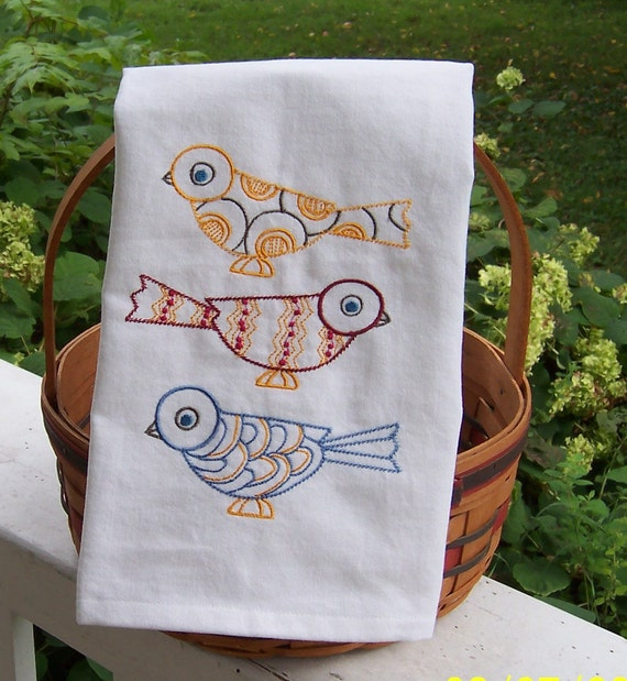 Penguin Book Cover Tea Towels : Birds three kitchen towel embroidered