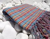 Turkishtowel-Hand woven,20/2 cotton warp and weft Rainbow,Diamond Turkish Bath,Beach Towel-Turquoise,Red,Yellow stripes