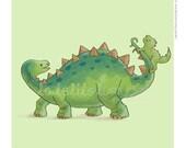 Children's Wall Art Print - Kids Decor - Whimsical and Sweet Wall Art Illustration - kids nursery - Cute Animal Series - The Dinosaurs