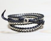 Leather wrap bracelet with rhodium silver plated chain bracelet-Medium Width(BLACK)