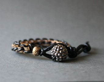 Leather wrap bracelet with rhodium silver plated chain bracelet-Big Size(Gold)