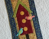 "Bird House Quilt Wall Hanging ~ With Heirloom Hanger 9"" x 22"" ~ SCOFG"