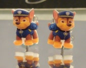 Paw Patrol Chase Cartoon Stud Earrings - surgical steel