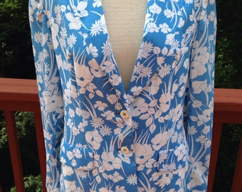 NOS blue and white floral blazer. Spring or summer suit coat. Size 14 jacket. Lightweight blazer. Casual coat.