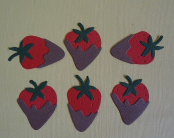 6 Chocolate Dipped Strawberry Die Cuts for Scrapbooking Cards and Paper Crafts