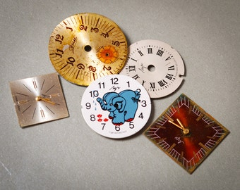 Lot of 5 different  vintage  watch faces, dials