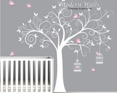 Wall Decal Tree with Birdcages, Birds-Baby Wall Decal-Nursery Wall Decal