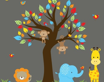 Nursery Wall Decal lion decal,elephant decal,giraffe decal,monkey decal-jungle decal tree wall decals