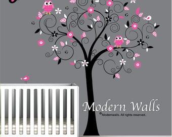Nursery Decor Vinyl Wall Decals Tree with Flowers Owls-e64