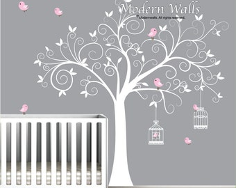 Wall Decal Tree With Birdcages, Birds Baby Wall Decal Nursery Wall Decal  Part 81