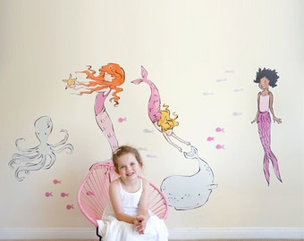 Sarah Jane Mermaids Eco-Friendly Reusable Fabric Wall Decals by Pop & Lolli