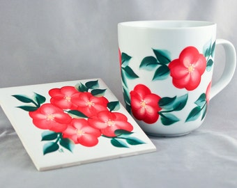 Hand Painted Coffee Mug and Coaster, Red Floral