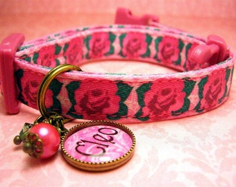 Safety cat collar - Toy Dog collar - Cat collar - Small Dog collar Cat charm  Personalized - Gemstone - Cat Collar - Name Charm - Pink Roses