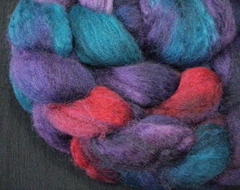 Hand Dyed SW BFL/Nylon Top 85/15 - 4 Ounces - Teal, Royal Purple and Red