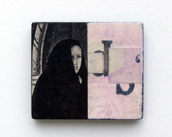 Cipher - original collage kitchen magnet, mystery, letters, haunting