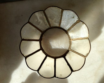 Vintage Capiz Shell and Brass Set of Two Plates / on sale