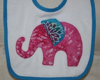 Elephant Baby Girl Baby Bib with Pink Batik on a White Bib with Turquoise Trim