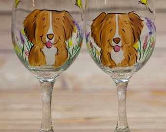 Nova Scotia Duck Tolling Retriever hand painted wine glasses custom with your breed