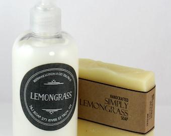 Lemongrass Gift Set, Natural Lemongrass Cold Process Soap and Beeswax Lotion