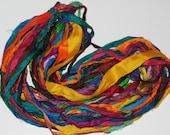 Recycled Sari Silk Ribbon Yarn, multi, 65 yards, 3.5 oz / 100 grams Parrot #4 Free shipping