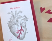 Valentine's Day, Mother's day Letterpress card anatomical heart vintage image black and red ink onto 100% cotton made in Australia