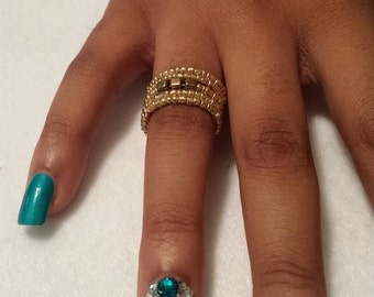 Gold beaded ring. Free shipping!
