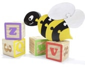 BumbleBee Puzzle - Children's Decor - Yellow and Black Bee Puzzle