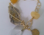 Yellow and Gray Abalone and Glass Bracelet