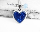 """Get 15% OFF - Double Sided - Handmade Resin """"Scorpio"""" Constellation Sign Silver Heart-shape Locket Necklace - Christmas SALE 2016"""